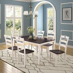 Cungon Online 7 Pieces Dining Table Set with Rectangular Wood Table and 6 Chairs Kitchen Dining  ...