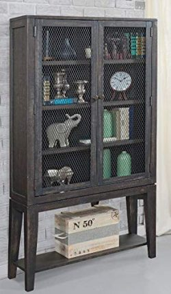 Martin Furniture IMCP3670 Wire Mesh Display Cabinet, Brown