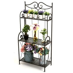 Scrollwork Design Metal Foldable 3-Tier Plant & Home Décor Display Stand Rack/Book Shelf