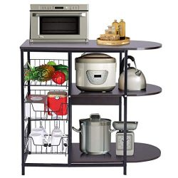 ErYao Kitchen Baker's Rack Utility Microwave Oven Stand with 3 Storage Basket +2-Tier Shel ...