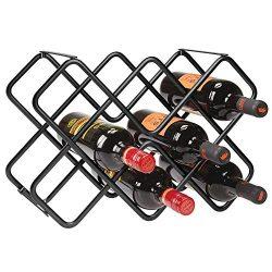 mDesign Metal Free-Standing Wine Rack Storage Organizer for Kitchen Countertops, Pantry, Fridge  ...