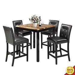 MOOSENG 5-Piece Dining Table Set, Wood Elegant Counter Height Desk and 4 Back Chairs, Perfect fo ...