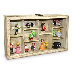 Ikee Design Wooden Hanging Display Case with Hinged Glass Front Door