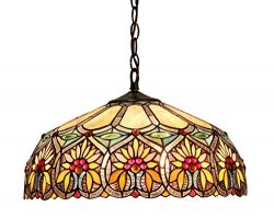 Chloe Lighting CH33453BF18-DH2 Sunny Tiffany-Style Floral 2-Light Ceiling Pendant with Fixture w ...