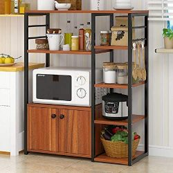 Hicy Home Kitchen Island,5-Tier Microwave Stand Storage,Baker's Rack Utility (Walnut)