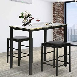 Rectangular Kitchen Dining Table Set Contemporary Dining Set Faux Marble Tabletop 3 Pcs Dining R ...