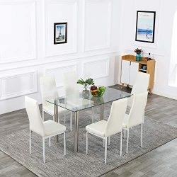 Bonnlo Dining Table with 6 Chairs 7-Piece Kitchen Dining Set Glass Dining Table Set with PU Leat ...