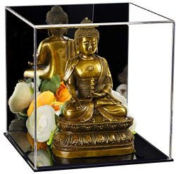 Better Display Cases Versatile Acrylic Mirrored Display Case, Cube, Dust Cover or Riser with Bla ...