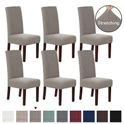 H.VERSAILTEX Stretch Removable Washable Chair Covers Solid Stretch Dining Room Chair Protector H ...