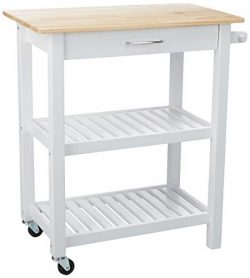 AmazonBasics Multifunction Rolling Kitchen Cart Island with Open Shelves – Natural and White
