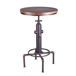 American Antique Industrial Solid Wood Water Pipe Design Cafe Coffe Industrial Bar Table (Bronze)