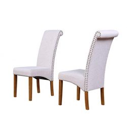 Merax Dining Chair Set of 2 Fabric Padded Side Chair with Solid Wood Legs, Nailed Trim (Light Beige)