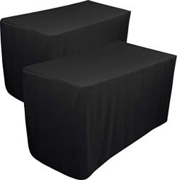 Utopia Kitchen Fitted Tablecloth – 6 Feet – 30 x 72 Inches (Black, 2)