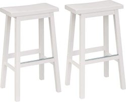 AmazonBasics Classic Solid Wood Saddle-Seat Kitchen Counter Stool with Foot Plate 29 Inch, White ...