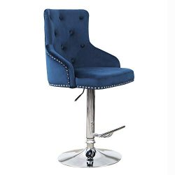 DMF Furniture Velvet Bar Stools Chairs with High Back Arms, Height Adjustable in Kitchen Dining  ...