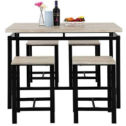 ALI VIRGO Modern Design Style 5-Piece Dining Set Wooden Kitchen Table and Chairs with Metal Legs ...