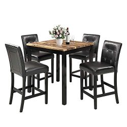 MOOSENG, 5 Pieces Dining Set, Elegant Counter Height Table and 4 Back Chairs, Perfect for Kitche ...