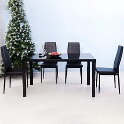 Mooseng Modern 5 Pieces Dining Table Set Glass Top Dining Table and Chairs Set for 4 Person, Pad ...