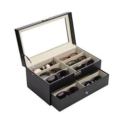 CO-Z Sunglasses Organizer for Women Men, Multiple Eyeglasses Eyewear Display Case, Leather Multi ...