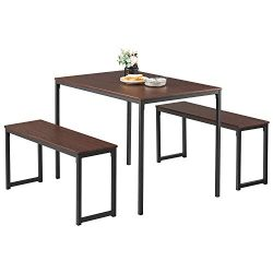 Kealive Dining Table Set with 2 Benches Wood Table Top Sturdy Metal Frame Construction, Rectangl ...