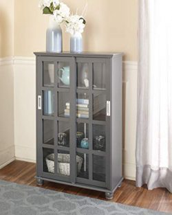 The Lakeside Collection Sliding Door Media Cabinet – Bookcase for Living Rooms, Entryways  ...