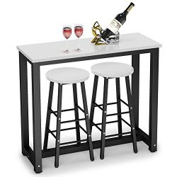 Tribesigns 3-Piece Pub Table Set, Counter Height Dining Table Set with 2 Bar Stools for Kitchen, ...