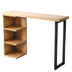 Bar table Lxn Solid Wood Pub Table with Storage Shelves, Counter Height, Breakfast Nook, Dining  ...