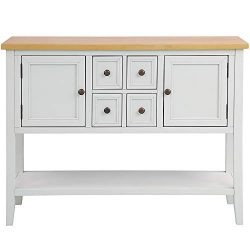 Romatlink Buffet Table Porch Table Series Buffet Side Cabinet Porch Table with 4 Storage Drawers ...