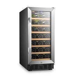 Lanbo 15 Inch Built In Wine Fridge Cooler, 33 Bottles Compressor Wine Cellar