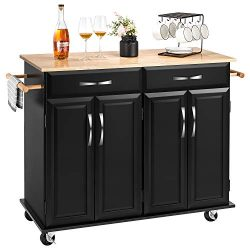 kealive Kitchen Island on Wheels Rolling Kitchen Island with Storage, Handle Rack Rubber Wood To ...