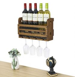 SODUKU Wall Mounted Wooden Wine Rack 5 Wine Bottles and 4 Stem Glasses Holder Wine Cork Storage Rack