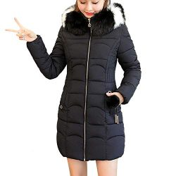 AIEason Women Hooded Solid Outwear Warm Long Thick Fur Cotton Parka Slim Jacket Coat Black