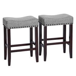 SONGMICS Set of 2 Bar Counter Stool, Well-Padded Dining Chair, Solid Wood Legs, Cotton-Linen Fab ...