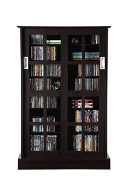 Atlantic Windowpane Adjustable Media Cabinet – Tempered Glass Pane Styled Sliding Doors, S ...