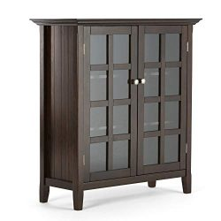 Simpli Home AXCRACA15-BRU Acadian Solid Wood 39 inch Wide Rustic Medium Storage Cabinet in Brune ...