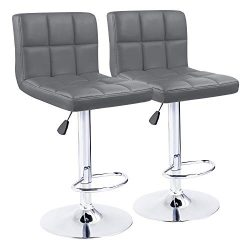 KaiMeng Bar Stools Modern Square Counter Height Bar Stool PU Leather Swivel Adjustable Stool Set ...