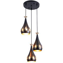 LARRY SHELL 3 Pendant Lights, Rustic Adjustable Kitchen Lighting Fixture with Crystal Decor Lamp ...