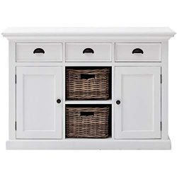 NovaSolo Halifax Pure White Mahogany Wood Sideboard Dining Buffet With Storage, 3 Drawers And 2  ...