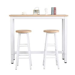 Mooseng 3 Pcs Dining Table and Chairs Set with Wood Tabletop 2 Chairs, Bar Table Chairs Stools S ...