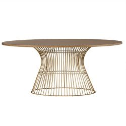 INK+IVY Mercer Dining Oval Solid Wood Tabletop, Metal Wire Frame Base Mid-Century Modern Style D ...
