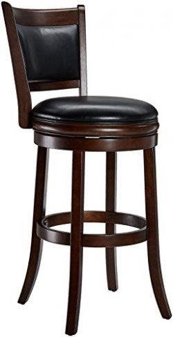 Ball & Cast Jayden Wooden Swivel Bar Stool with Faux-Leather Upholstery – 29 Inch Seat ...