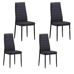 LZ LEISURE ZONE Dining Chair Set of 4, Kitchen Chairs Dining Room Chairs Cushion High Back Suppo ...
