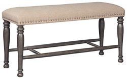 Signature Design By Ashley – Audberry Double Upholstered Bench – Traditional Style & ...