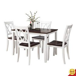 MOOSENG, 5 Pieces Dining Set, Wood Elegant Table and 4 High-Back Chairs, Perfect for Kitchen, Br ...