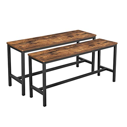 VASAGLE ALINRU Table Benches, Set of 2, Industrial Style Indoor Benches, 42.5 x 12.8 x 19.7 Inch ...