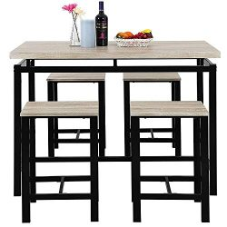 MOOSENG, 5 Pieces Dining Table Set, Wood Pub Height Desk and 4 Backless Stools for Bar, Kitchen, ...