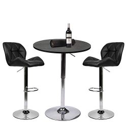YOURLITE Pub Table Set 3 Piece 24 inch Black Wood Round Table with 2 Leatherette Chairs Height A ...