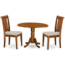 DLPO3-SBR-C 3 PC small Kitchen Table and Chairs set-breakfast nook plus 2 dinette Chairs