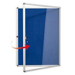 Swansea Lockable Noticeboard Blue Fabric Bulletin Boards Cabinet for Office School 38×28 in ...
