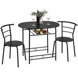 Kealive 3 Piece Kitchen Table Set Space Saving Dining Set Table and 2 Chairs with Metal Frame an ...